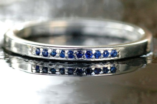 Sterling Silver Stacking Ring 925 and 10 Genuine Blue Sapphires Handmade Size 6.5. $185.00, via Etsy.