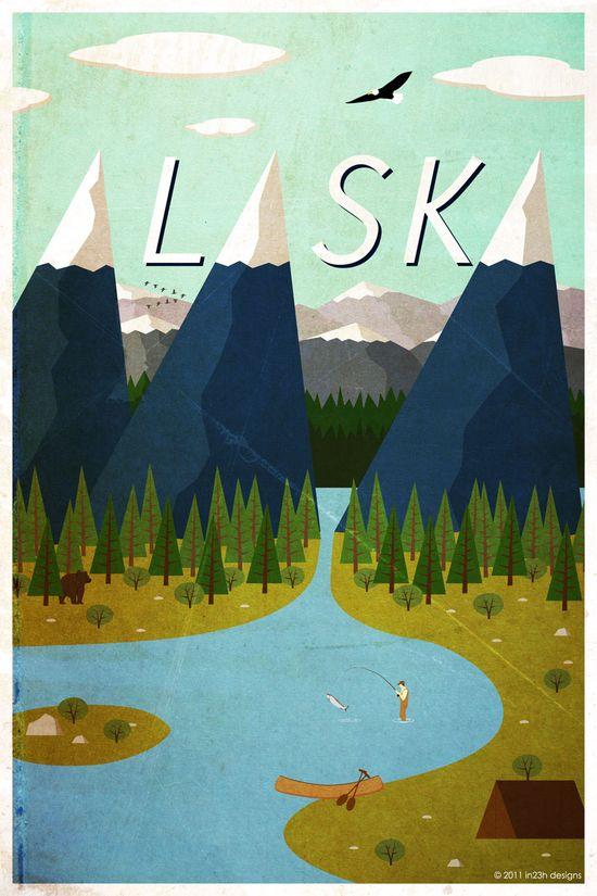Alaska retro travel poster