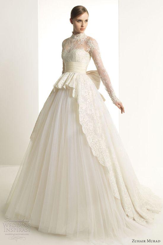 zuhair murad 2013 bridal katrina wedding dress long sleeves lace ball gown