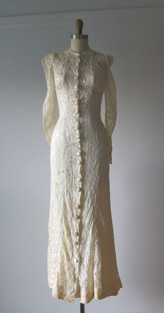 vintage 1930s wedding dress / 30s lace dress