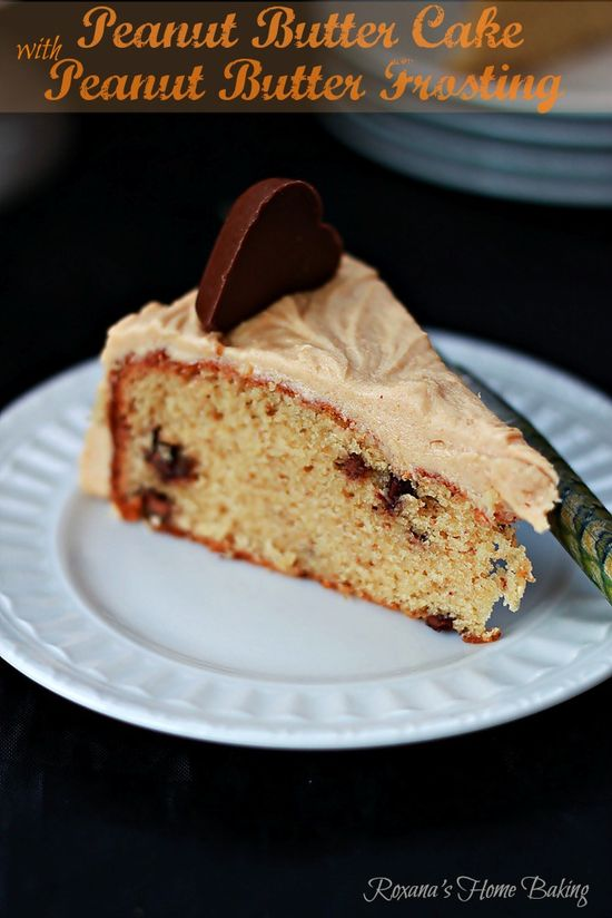 Peanut Butter Cake: moist peanut butter cake with Reeses hearts topped with a creamy PB frosting @RoxanaGreenGirl