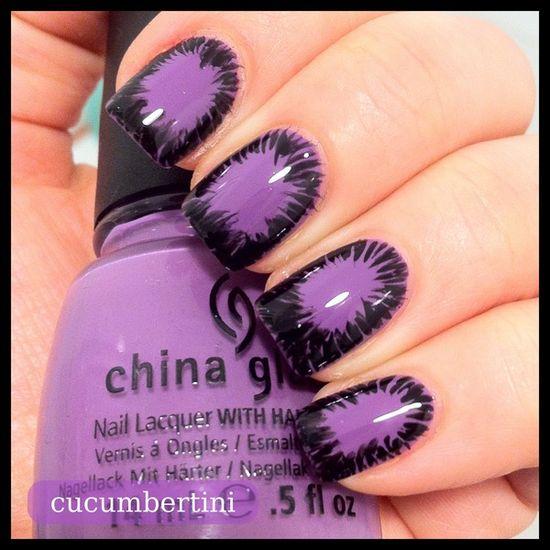 exploding purple nails ,nice nail design
