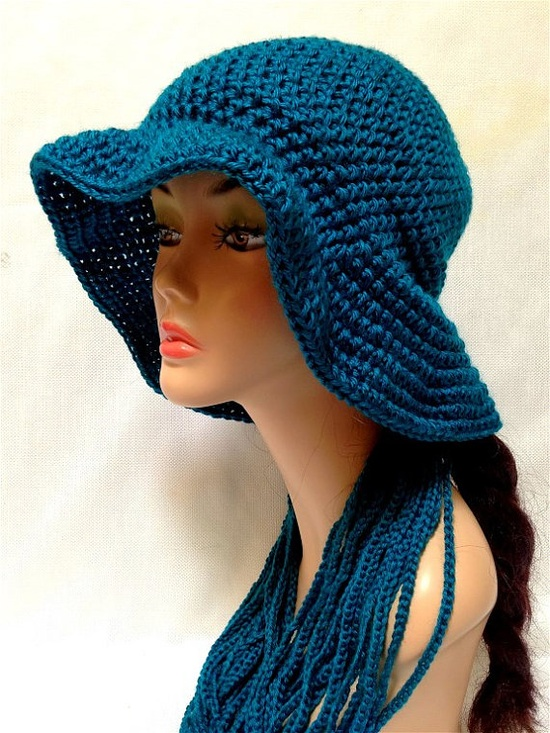 Teal Crochet Hat and Chain Scarf Set Summer Fashion by Africancrab, $25.00
