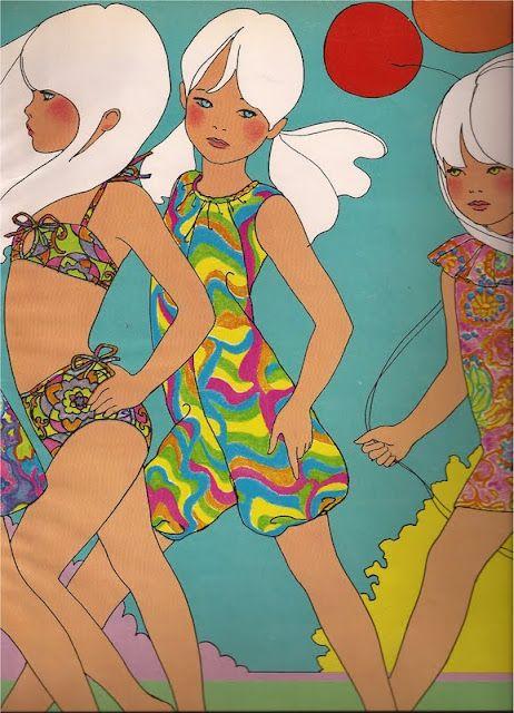 Child Fashion illustration by Antonio Lopez.  The Wind Dancers, vintage 1960s Vogue magazine.