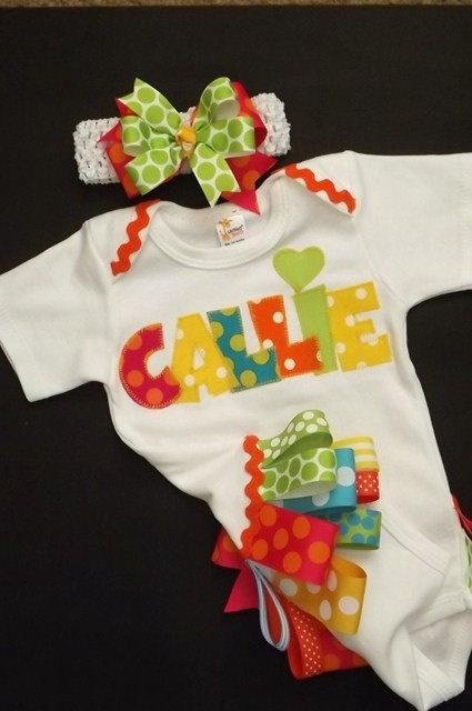 Baby girl onesie bodysuit personalized by FiestaKidsBoutique, $37.00
