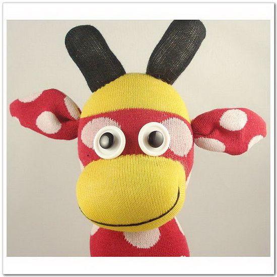 Handmade Sock Monkey Giraffe Stuffed Animal by supersockmonkeys