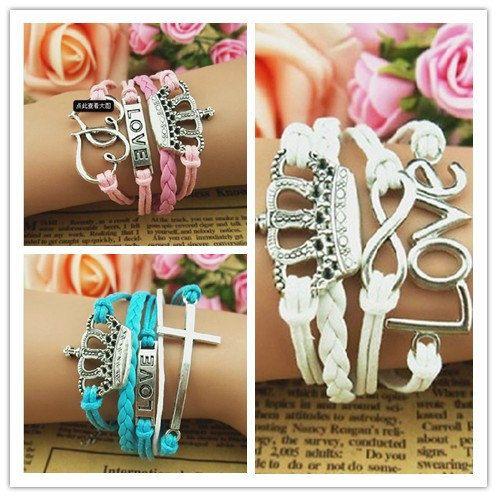 Crown charm bracelets womens jewelry white pink by Handmadefancy, $8.90