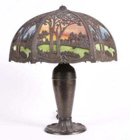 MILLER SLAG GLASS LAMP  Scenic views and marbleized slag glass panels  Estimate: $500 - $800