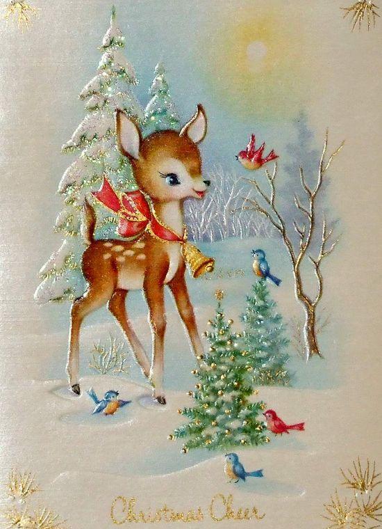Darling vintage Christmas cheer. #deer #vintage #Christmas #cards