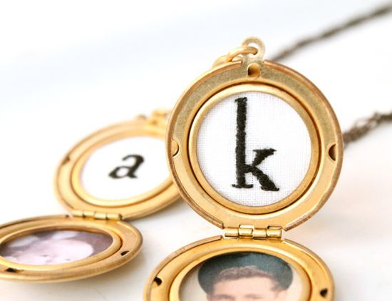 Personalized Jewelry, Custom Monogrammed Golden Brass Photo Locket Necklace, hand embroidered, classic round locket