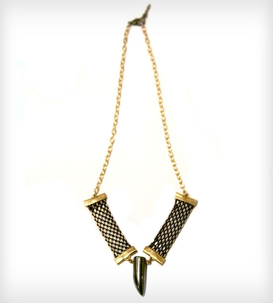 Pyrite and Vintage Ribbon Chain Necklace