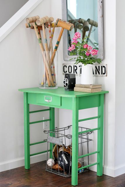 Flower Patch Farmgirl Green entry table, summer edition!