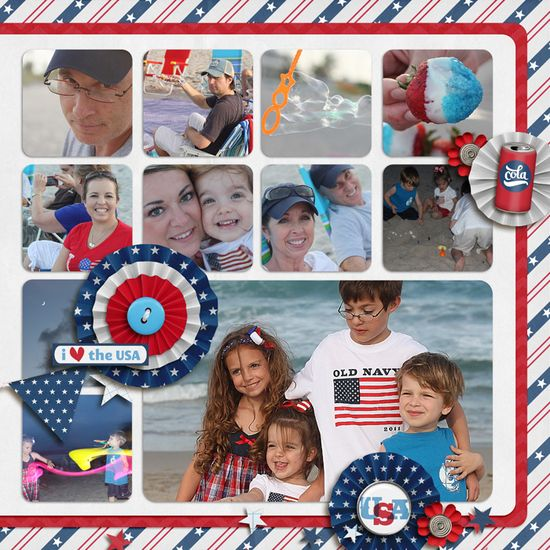 Fourth of July by YepBrook #independence #day #scrapbook #layout #pinwheels #grid