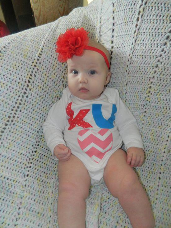 KU Baby Bodysuit KU Baby Outfit Kansas Jayhawk by CarasPlayground, $15.00