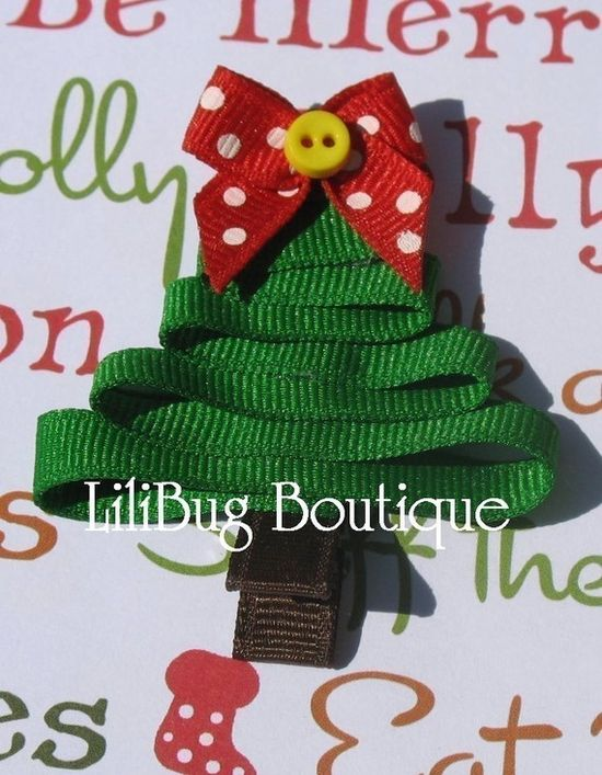 ChrIstmas Ribbon Tree ~ This would be cute on a package, a child's shirt, as a Christmas pin, or a child's hair adornment (which is what this idea is).  :)