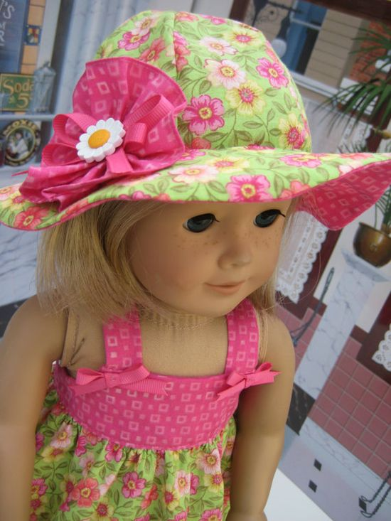 Pink and Green Spring Floral Dress and Hat for 18 inch and American Girl Doll by Bon Bon Boutique