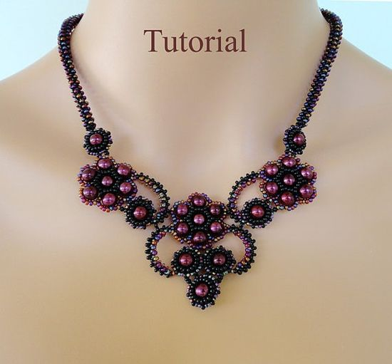 PDF for beadwoven necklace beading pattern - beadweaving beading tutorial beaded seed bead jewelry - FRENCH KISS  #Beads #Black #Purple #Necklace #Weave #Tutorial #Seed #Round
