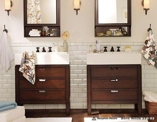 Guest bath-white subway tile