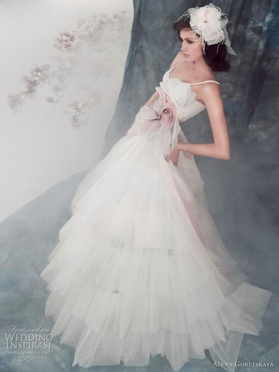 Angelica wedding dress with with pastel organza pale mauve flowers from Alena Goretskaya 2011 bridal collection