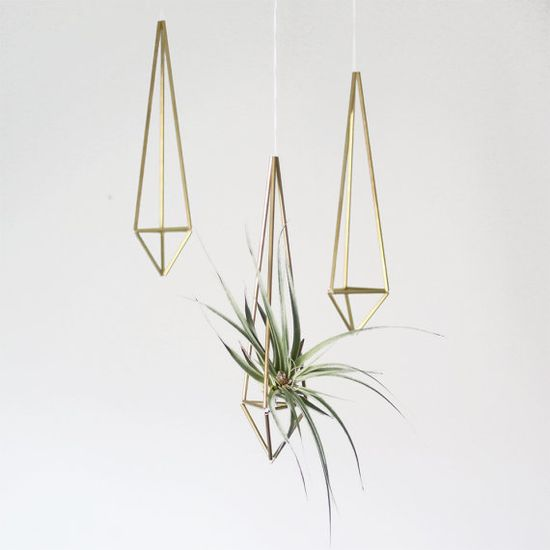 Brass Himmeli Hanging Planter / Hanging Mobile Prism no. 1 / Geometric Ornament / Air Plant Hanger