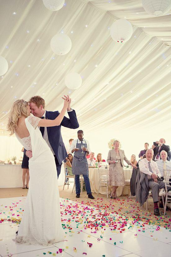 #white #tent #confetti #firstdance Photography: Marianne Taylor Photography - mariannetaylorpho...  Read More: stylemepretty.com...