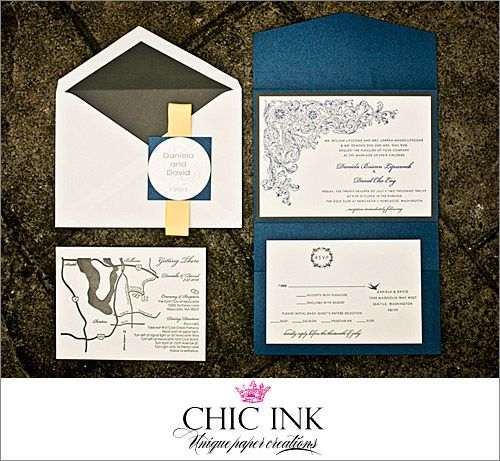 Wedding invitation by Chic Ink-based on Storybook Ensemble and customized