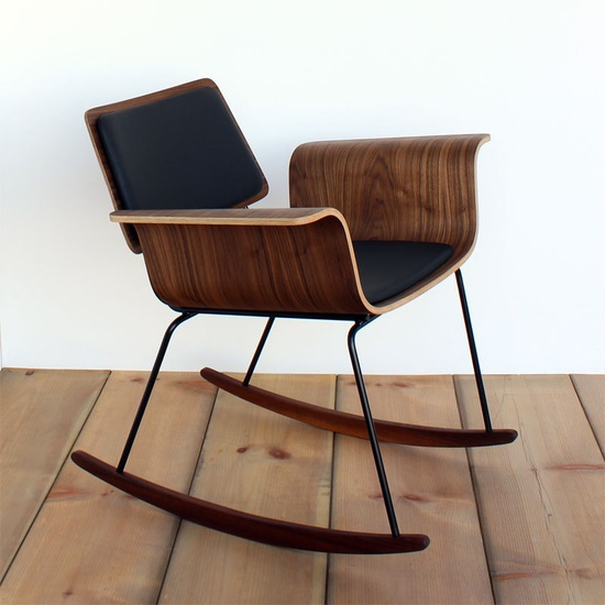 "Molded plywood rocker ""Roxy"" chair: Walnut & leather or tweed"