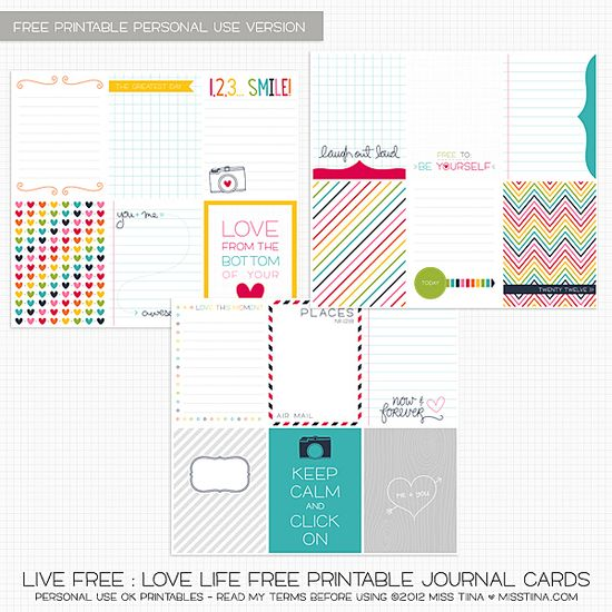 FREE Printable Live Free : Love Life Journal Cards {PU}