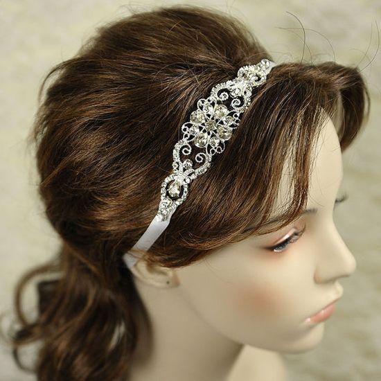 LYDIA - Stunning Wedding Bridal Headband, Vintage Rhinestone Ribbon Bridal Headband