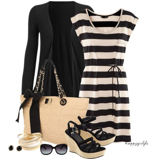 Black and White Striped w/ Black jacket