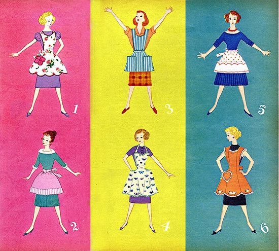 Six delightfully lovely styles of late 1950s aprons. #aprons #hostess #homemaker #housewife #vintage #1950s #fifties