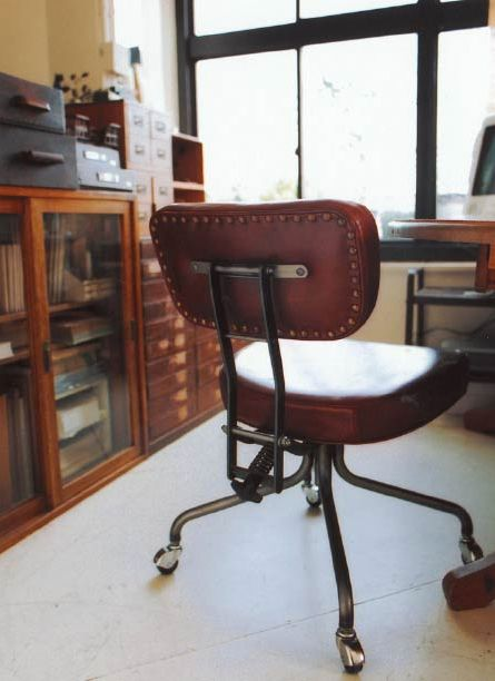 office chair. vintage storage and cabinets.
