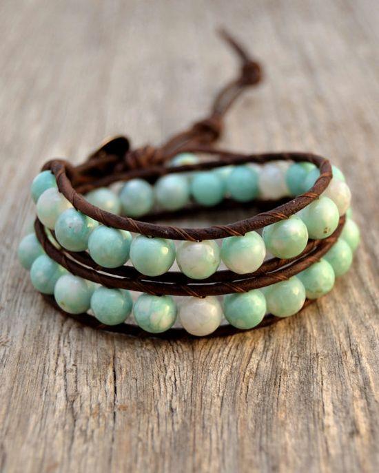 Beachy leather wrap bracelet. Boho bohemian jewelry. Turquoise beach jewelry