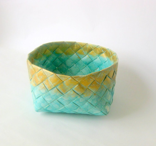 Basket woven paper turquoise handmade L Danish. $34.00, via Etsy.