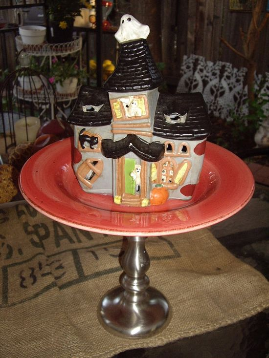 Halloween Haunted House Pedestal Plate  Garden Decor by DSSDesigns, $35.00