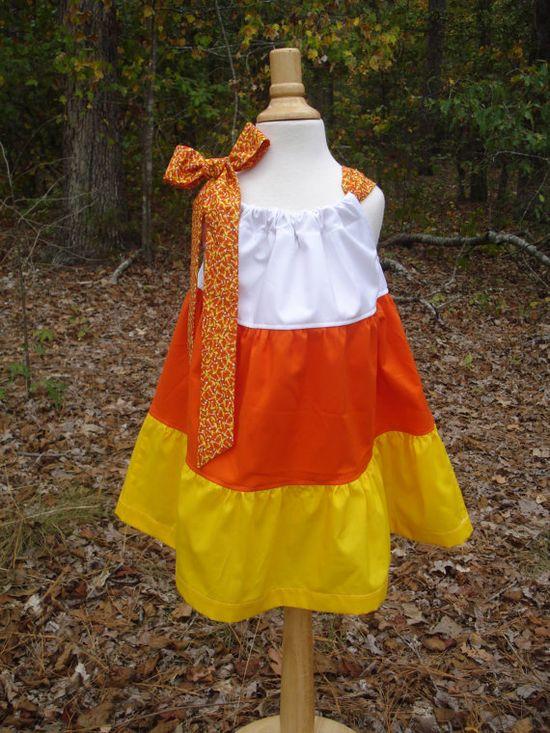 Girls pillowcase dress 3 tiered candy corn, perfect for fall & Halloween