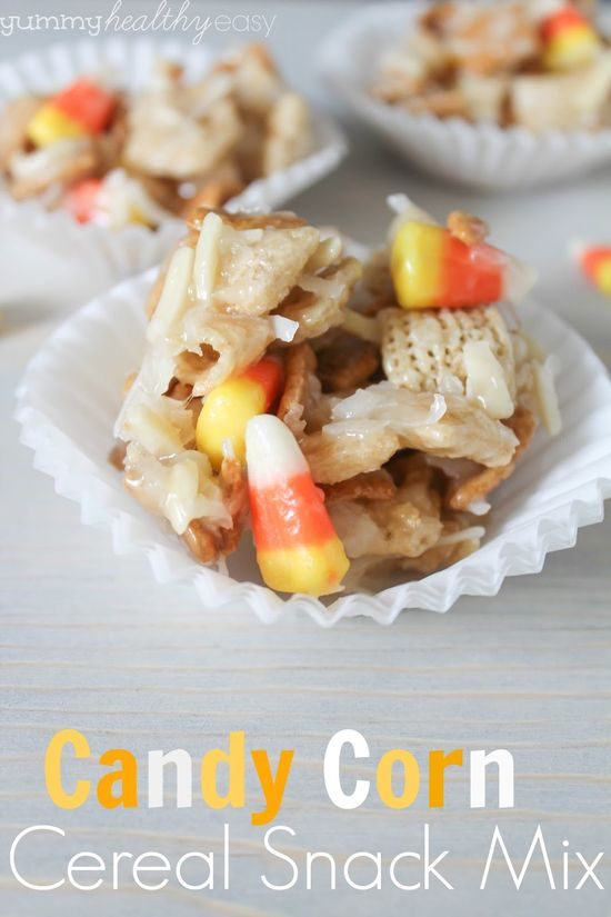 Candy Corn Cereal Snack Mix - a yummy Halloween treat! Great for teachers gifts or parties, this is a family favorite! #halloween #treat