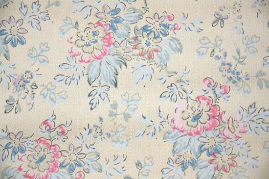1920's Vintage Wallpaper pink and blue floral on light brown background on Etsy, $14.00