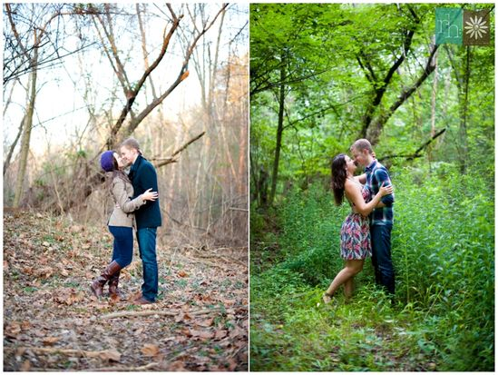 Newly weds: take a picture in the same spot for all four season, frame together to symbolize your first year of marriage!