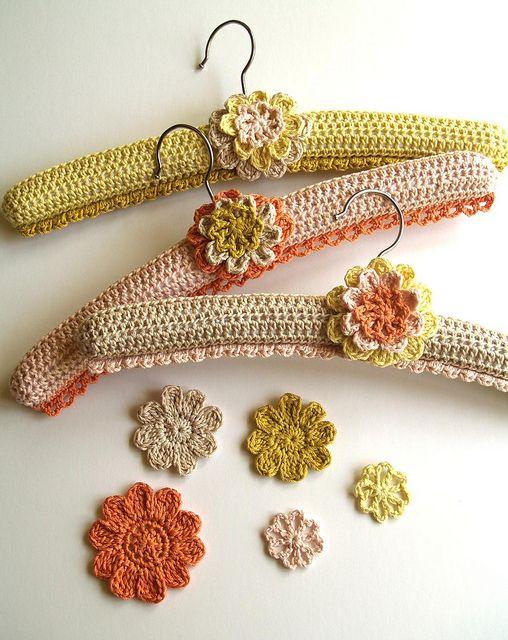 crocheted hangers #crochet