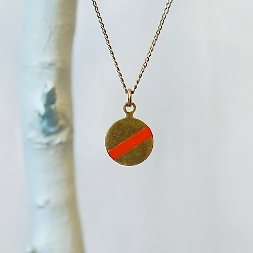 ? Brass Geometric Handpainted Pendant Necklace from ANOTHER PLANET #Jewelry