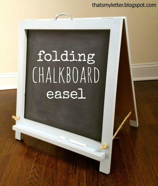 DIY folding chalkboard easel
