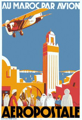Stunning Art Deco Travel Poster Morocco 1930s 'Au Maroc Par Avion Aeropostale'