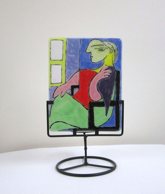 Picasso Inspired Fused Glass Panel by JanuaryMayDesigns on Etsy, $65.00
