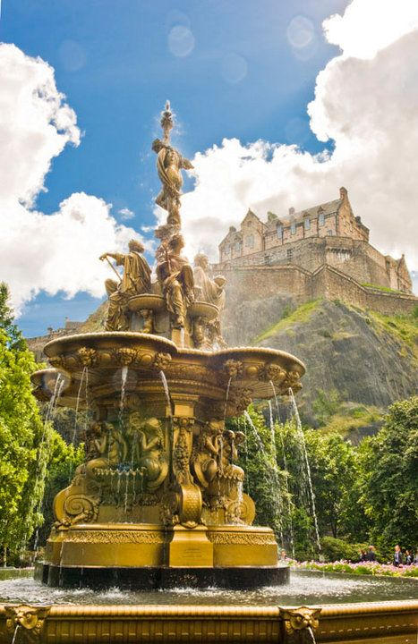 The Ross Fountain with Edinburgh Castle, in the background, UK.