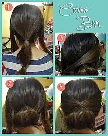 This would be pretty for DIY wedding hair, although i always recommend hiring a pro!   DIY Cross Bun Hairstyle DIY Projects