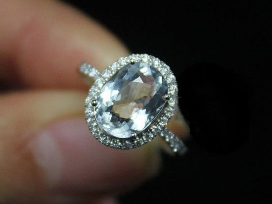 3 Carat Aquamarine Engagement Ring, Diamonds, 14K White Gold. $989.00, via Etsy.