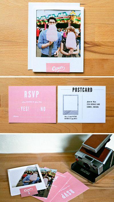 wedding Invitation set - vintage polaroid wedding invitation