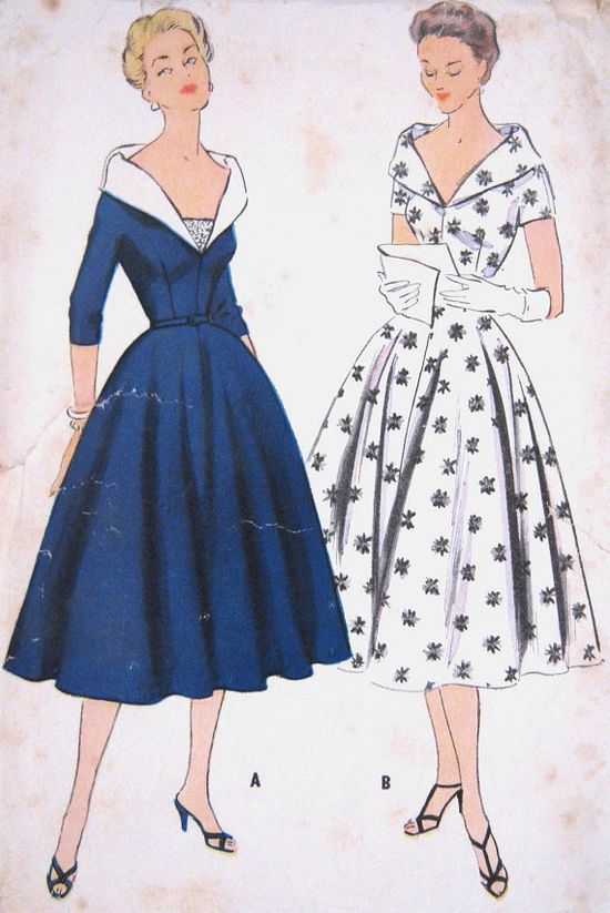 1950s Dress Pattern Day Evening Shawl Collar Fitted