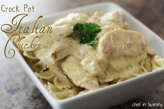 Crock Pot Chicken. 2-4 boneless skinless chicken breasts or equivalent amount of chicken tenders (can be frozen). 1 (8 oz.) softened package cream cheese. 1 can cream of chicken soup, 1 pkg. Italian dressing seasoning.    Place chicken in crock pot. Mix softened cream cheese, cream of chicken and seasoning; pour evenly over chicken.Cook on high for 4-6 hours. Serve over rice or pasta.